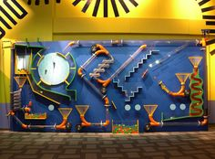 balls, ball run, exhibit idea, basement walls, children museum, interact, c3 children, ball track, museum exhibit