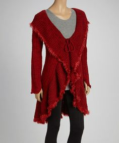 Take a look at this Red Fringe Cardigan - Women & Plus by Come N See on #zulily today!