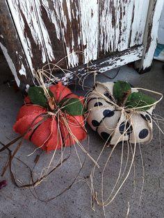 Burlap pumpkins, shabby chic pumpkins, fall decor, Halloween, polka dot burlap, orange burlap, on Etsy
