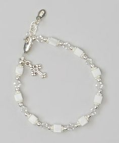 Look at this #zulilyfind! Sterling Silver & White Square First Communion Bracelet by Tiny Treasures  #zulilyfinds