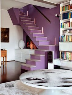 coffee tables, color coordination, basement stairs, shades of purple, stairway