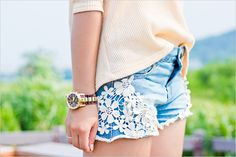 Crochet detail denim cutoff shorts