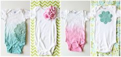 V and Co.: baby girl onesies: dyeing with rit dye