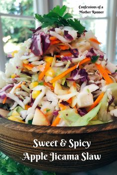 Sweet and Spicy Apple Jicama slaw perfect zingy side for summer. Easy, vegan, GF, no mayo #vegan #meatlessMonday #GF #easy #simple