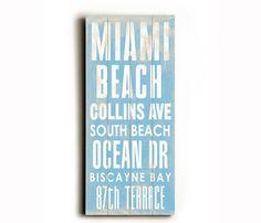 wood sign, beaches, miami beach, florida, beach transit