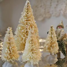 Ivory colored bottle brush trees with glimmer