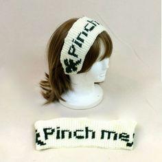 Crochet Headband Shamrock Pinch Me Green White Hair Band Ear Warmer Irish. #shamrock #headband #funny #hairband #earwarmer #green