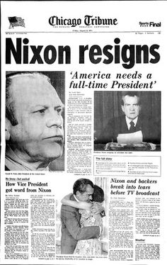 United States President Richard Nixon resigns as President in 1974 while facing charges for impeachment for the Watergate scandal.