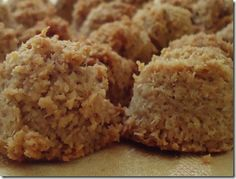 Recipe: Easy Vegan Macaroons..using coconut, almond butter , agave nectar , vanilla  water ...that's it :)