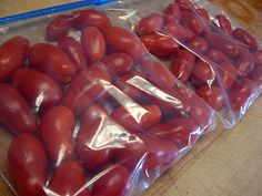 freezing roma tomatoes *freeze as they ripen until you have enough for canning a batch of sauce!