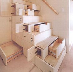 Fantastic idea for when I build my tiny house.  Because I don't want a ladder to the loft, but we'll need the space.