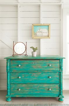 Turquoise/teal painted dresser chest of drawers