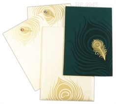 Use this beautiful peacock feather printed wedding card to invite your guests and to unveil the exclusivity of your wedding. http://indianweddingcard.in/RP9945.html