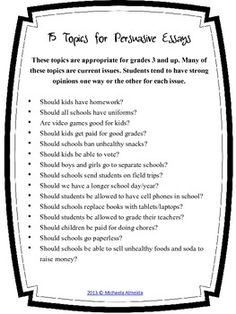topics for persuasive essays for kids