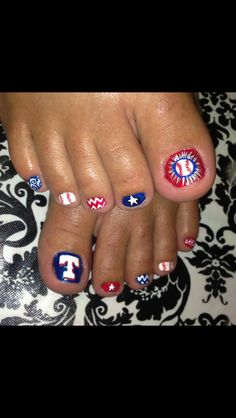 Texas rangers nails... cute!