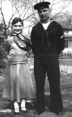 My sister and me. Home from Navy bootcamp, spring, 1952