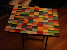 paint chip tv table. this is an unfinished picture. @Courtney Wilkerson
