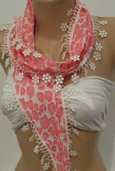 Pink   Elegance Shawl / Scarf with Lace Edge by womann on Etsy, $15.00