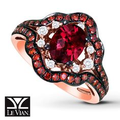 LeVian Garnet Ring 3/4 ct tw Diamonds 14K Strawberry Gold