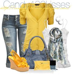 """blue demim & yellow contest"" by candy420kisses on Polyvore"