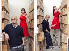 librarian in a comic book store engagement picture via When Geeks Wed