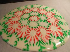 Christmas Serving Tray.  Take Starlight mints.  Place on parchment paper on a baking sheet in whatever design you choose. Bake at 350 for 10 minutes. Cool on baking sheet.  Enjoy using as a serving tray.