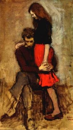 """This was painted in 1959. It looks like Amy and Rory. Amy and Rory were around in 1959…maybe it was them! Google reveals it to be Raphael Soyer's """"Consolation,"""" and Soyer lived in New York. New headcanon!"""