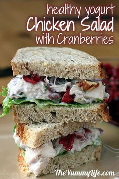 Chicken or Turkey Salad with Cranberries & Pecans. A healthy recipe with yogurt.