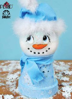 Plaid® Light Up Snowman #claypot #craft #christmas