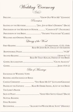 catholic wedding ceremony program template Honestly, I'm in agreement with the music selections on this example, other than You Raise Me Up...that song makes me cry. Trying to avoid that. ;)