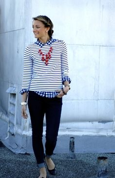 pattern play.  Gingham and stripes.
