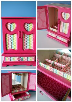 This would be ADORABLE in a little girls room!  A refurbished vintage jewelry box Perfect for jewelry, office supplies, make-up, or just about any other treasure I can think of.