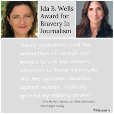 Helen Benedict and Regina Kulkik Scully are Women's eNews first joint Ida. B Wells Award winners for their work.
