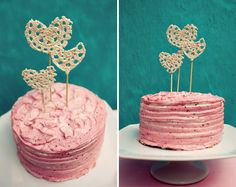 Crocheted Heart Cake Toppers