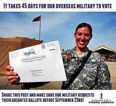 Military Absentee Voting - Don't miss the September 23 deadline.