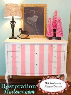 Pink Striped Antique Painted Dresser http://www.restorationredoux.com/?p=5379