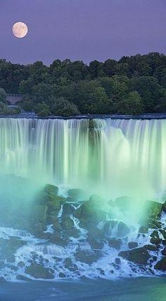 lights, moon, waterfalls, nature, canada, dream, niagara falls, travel, place