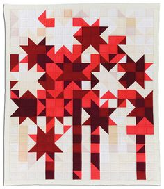 "Beautiful ""Starfire"" quilt by Jean Ray Laury. 50"" x 59"" (1981). starfir, firework, jean ray, quilt journalstarcom, quilts, jeans, ray lauri, lauri quilt, modern star quilt"