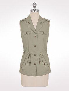 $34  Studded Ripstop Vest   cotton