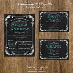 DIY Wedding Chalkboard Elegnace 1 PRINTABLE set  Invitation 5x7  rsvp thank you card grey turquoise wedding. $30.00, via Etsy.