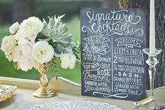 Signature cocktails chalkboard sign #wedding #signage