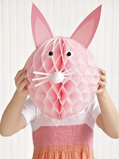 EASTER:  A generic crepe paper ball can become an Easter bunny with the addition of craft paper ears, eyes, and whiskers, plus pom-poms for the nose and eyes.