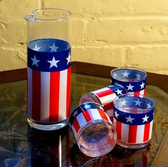 1970s Patriotic Glass Pitcher with 4 Glasses