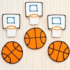 Basketball cookies with royal icing pattern idea
