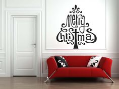 Christmas Tree Made of the Words Merry Christmas - Vinyl Wall Art Decal. $32.00, via Etsy.