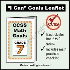 FREE Grade 7 �I Can� Math Goals Leaflet for Parents from K-8 MathPaths on TeachersNotebook.com -  (3 pages)  - This leaflet lists 59 clear goals to meet Grade 7 Common Core math, written as �I can� statements. There is also a math practices checklist.