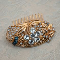 Gold rhinestone vintage deco hair comb with sapphire accents # bridal hair comb