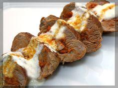 #Solomillo de #cerdo relleno de #sobrasada, con #salsa de #queso - #recipe in #Spanish