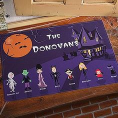 Turn all of your family members into cute Halloween Costumed Characters with this Halloween Family Doormat! They even have characters for grandparents and pets!