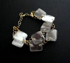 Upcycled jewelry gold & white bracelet made of recycled plastic bottles by dekoprojects